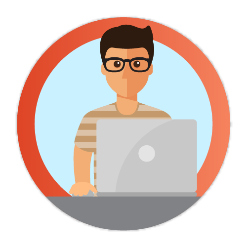 Icon of young man at laptop