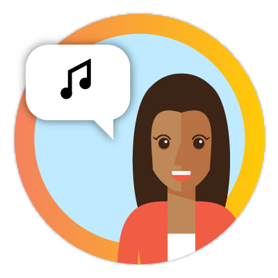 Icon of woman talking about music