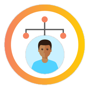 Icon of young person in an org chart