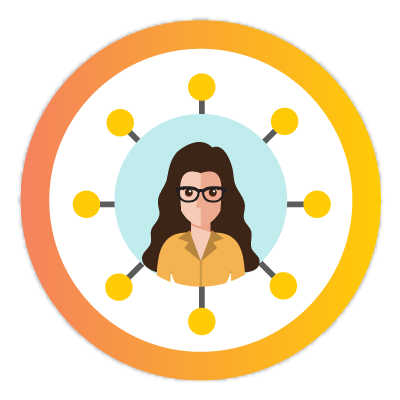 woman surrounded by network