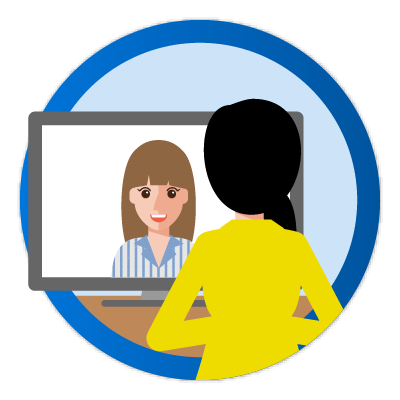 woman meeting another woman on computer